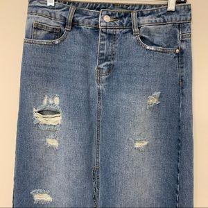 Long Maxi Denim Jean Skirt High Rise Floor length